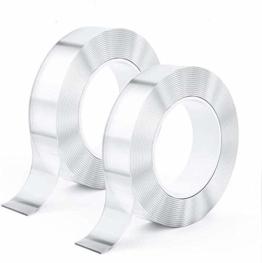 2 Pack kinkaivy Doppelseitiges Spurloses Klebeband, 10M Nano Tape Waschbares Klebeband