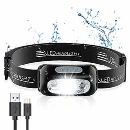 Stirnlampe mit Gestensensor, Ultrahelle Wiederaufladbare LED Kopflampe
